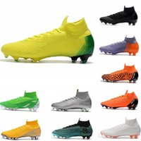 Wholesale blue mercurial superfly for sale - Mens Mercurial Superfly VI Elite Ronaldo FG CR soccer shoes chaussures football boots high ankle Soccer Cleats