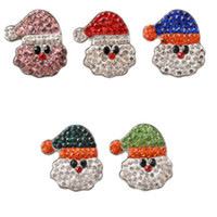 Wholesale diy snap buttons resale online - 18mm NOOSA Snap Button Jewelry Santa Claus Christmas Ginger Snap Santa Claus Chunks Fit DIY Snap Bracelets Christmas Gift