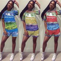 fato de penas venda por atacado-Mulheres Campeão Designer De Treino Marca Two Piece Outfits Verão Shorts Set Rainbow Feather Esportes Terno Bodysuit Streetwear Pano C61901