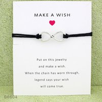 Wholesale jewelry green wax online - New infinity wish Wrap bracelets with Gift Card women Make A Wish charm Wax rope Wristband For Men Fashion Jewelry Gift