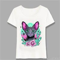 kollu dövme tişörtler kadınlar toptan satış-Çiçekler Sphynx Kedi Dövmeler Baskı T Gömlek Yeni Yaz Moda Kadın T-Shirt Casual Tees Kadın Hip Hop Kısa Kollu Harajuku Tops