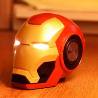 haut-parleurs bluetooth clignotants achat en gros de-Nouveau IronMan Haut-parleur Bluetooth avec flash LED Robot Head Portable Subwoofer sans fil Prise en charge Carte TF Radio FM Cartoon Hi-Fi Haut-parleur Boom