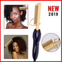 Wholesale hot tools curling irons for sale - Group buy 2019 Hot Sell Electric Hair Curler Comb Wet and Dry Use Hair Curling Iron Straightener Comb Copper V Hair Styling Tools