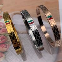 regalos para ruby aniversario de boda al por mayor-2019 Deluxe Brand Jewelry Pulsera Pulsera de acero inoxidable 18k Oro plata oro rosa plateado verde rojo Pulsera Para mujeres hombres