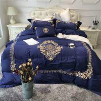 königsgröße royal blau bettwäsche gesetzt großhandel-60 s ägyptische baumwolle weiß blau luxus königlichen bettwäsche-sets königin king size stickerei bettlaken bettbezug set kissenbezüge