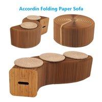 katlanır tezgahlar toptan satış-Yaratıcı Kraft Kağıt Katlama Tabure Tezgah Kağıt Mobilya Modern Tasarım Accordin Katlanır Kağıt Tabure Kanepe Sandalye Rahatlatıcı Ayak oturma Yemek