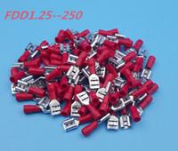 awg коннектор оптовых-1000шт обжимной разъем терминал Красный FDD1.25-250 6.3mm16-22 AWG кабель изолированный женский лопата провода