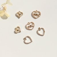Wholesale kc gold color resale online - 12 MM Pack Heart Shape KC Gold Color Alloy Jewellery Pendants Jewelry Charms