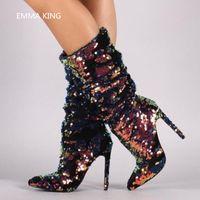 parlak renkler karışımı toptan satış-Kış Glitter Bling Moda Kadınlar Boots Sivri Burun Stiletto Yüksek Topuklar Uzun Çizme Karışık Renkler Pileli Tasarımcı Payet