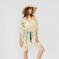 ingrosso cardigan di filato-Copricapo bikini stampa limone Ups sezione sottile filato cardigan cappotto donna Cape Beach nuovo modello 18 5sza UU