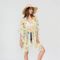 plaj örtüsü deseni toptan satış-Limon Baskı Bikini Kapak Ups Ince Kesit Iplik Hırka Ceket Kadın Pelerin Plaj Yeni Desen 18 5 sza UU