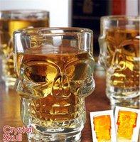 kristall kopfbrille groihandel-500ml Kristallschädel-Kopf-Wodka-Schuss-Glas-Bier-Wein Milch Whiskygläser Cup Trinken Ware Griff für Home Bar-Party Kreative Halloween