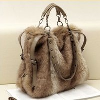 tasarımcı çanta sahte toptan satış-Tasarımcı-2019 kadın deri çanta moda taklit tavşan kürk kılıf saplama çanta kış omuz çantası çapraz vücut serin messenger çanta perçin çanta