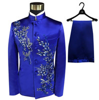 Wholesale chinese men wedding costume resale online - Blazer men Chinese tunic suit set with pants mens wedding suits costume singer stage Blue embroidery clothing slim formal dress