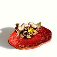 ingrosso piatto rosso sapone da bagno-Rosso vintage ceramica uccello fiore sapone piatto di frutta caramelle piastra accessori per il bagno da sposa decorazioni per la casa artigianale in porcellana figurine ZJ0531