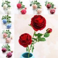 künstliche pfingstrosen rosen großhandel-Künstliche Blumen Rosen Pfingstrose Drei Köpfe Garten Hochzeit Dekoration Simulation Gefälschte Blüte Weihnachtsgeschenk DHL WX9-70