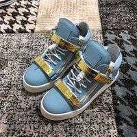 итальянские шнурки для обуви оптовых-Новый бренд итальянский дизайнер мужчины кроссовки Женщины Повседневная обувь небесно-голубой цвет натуральная кожа золотой шнуровке высокие топы двойная молния декоративные