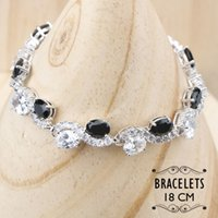 Wholesale black costume jewelry rings resale online - Wedding Costume Sliver Jewelry Sets Women Christmas Black Zircon Bracelets Necklace Earrings Rings Set With Stones Gift Box