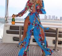 praia sexy vestido de uma peça venda por atacado-Sexy mulheres maiôs beach cover ups vestidos swimwear one piece swimsuits impresso irregular vestido M470
