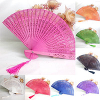 Wholesale fragrant wood resale online - Party Favor Home Decor Crafts Fragrant Wood Bamboo Wooden Fan Hand Fans Summer Accesory Weddings Parties Art Folding Carved