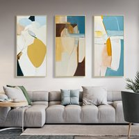 Wholesale vertical paintings for sale - Group buy Abstract Watercolor Canvas Paintings Vertical Geometric Poster and Prints Wall Art Pictures for Living Room Office Home Decor