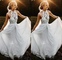Wholesale halter top beach wedding dresses resale online - Bohemian A line Chiffon Beach Wedding Dresses Halter Illusion Top Backless Country Wedding Bridal Gowns Floor Length Rustic Bridal Dress