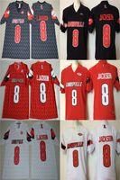 neue fußball-trikots großhandel-# 8 Lamar Jackson Rot Schwarz Weiß Farbe Louisville Cardinals L. Jackson College Football Genäht Trikots 2017 Neue Art Jersey Kostenloser Versand