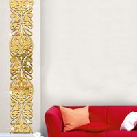kristal etiket çıkartmaları toptan satış-DIY Ev Dekor Oturma Odası Girişinde TV Arka Plan Dekorasyon Ayna Duvar Çıkartmaları Akrilik 3D Aynalı Sticker Duvar Kristal Dekora ...