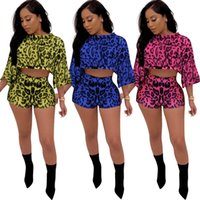 Wholesale one piece ladies clothes online - Womens Casual Sportswear Print Shorts Short Bat Sleeves Pieces One Suit Tracksuit Bar Club Tops Ladies Home Clothes Kit qm E1