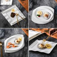 ingrosso set di piatti della cena della porcellana-4 pezzi nuovi piatti in porcellana bone china sqaure whtie set di piatti bianchi in stile euro