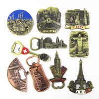 Wholesale italy home decor for sale - Group buy Fridge Magnet Sticker Metal Mini Bottle Opener Germany Italy France Countries City Cute Tourism Souvenir Home Decor Craft Gift