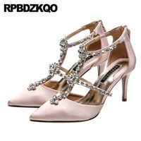 zapatos de boda de marfil pedrería rosa al por mayor-tacones altos mujeres de cristal t correa bombas marfil diamante zapatos de boda 3 pulgadas satén nupcial rhinestone punta puntiaguda tiras finas rosa
