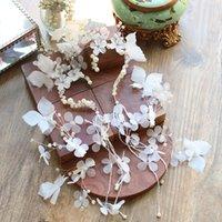 Wholesale butterfly wedding hair tiaras resale online - white handmade flowers long ear hanging Butterfly Hair Clip Set tiara wedding Bridal headdress jewelry