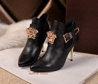 Wholesale shoes for short women for sale - Group buy fashion Plus Size Ankle rhinestone fashion winter Boots leather for Women fur High Heels Buckle Shoes Short Boot Ladies Casual Footwear