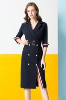 mode damen wolle kleid großhandel-Frauen lange Wollmantel Kleid Mode schlanke Zweireiher Mantel Windjacke Damen Wollmischungen Mantel mit Gürtel Größe S-XL