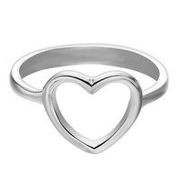 Wholesale fashion brass finger rings resale online - Simple Hollow Design Love Heart Rings for Women Ladies Euramerican Fashion Ladies Finger Rings Women Party Jewelry Anel Feminino