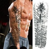 tatuaje de ave al por mayor-Impermeable Tatuaje Temporal Etiqueta engomada del tatuaje del ojo del pájaro Pagoda brazo completo tamaño grande falso tatto flash tatoo manga tato para hombres mujeres