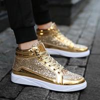 club nocturno zapatos hombres al por mayor-Zapatos ocasionales de los hombres 2019 zapatillas de deporte de la nueva llegada con cordones Calle Hip hop zapatos Casual High Top Night Club Bailando Zapatillas
