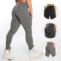Wholesale dark grey yoga pants for sale - Woman High Waisted Yoga Pants Seamless Leggings High Elastic Exercise Tights Lady Pure Color Pants Fitness Running Sports LJJT388