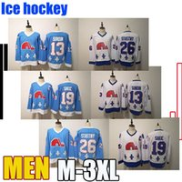 nordiques jersey vintage al por mayor-13 Nordiques Mats Sundin vendimia Quebec Winter Classic Jersey Azul 10 Guy Lafleur 19 Joe Sakic 21 Peter Forsberg 26 Peter Stastny Marois