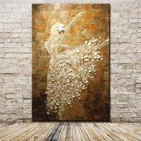 cuchillo de pintura al óleo al por mayor-Imagen del bailarín de ballet Pintura al óleo abstracta moderna del cuchillo de paleta arte de la lona de la pared para la decoración del hogar Sala