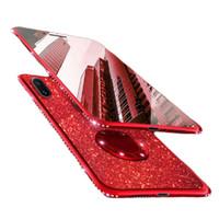 halka tutucu telefon çantası toptan satış-Yumuşak TPU Telefon Kılıfları iPhone Samsung için Lüks Bling Glitter Kristal Telefon Case Arka Halka Tutucu Ile