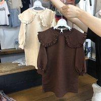 elbiseler yakışıklı yaka toptan satış-JK Qaulity Yeni Küçük Kızlar Elbiseler Uzun Kollu Tatting Pamuk Boş Ruffles Turn-down Büyük Yaka Bahar Sonbahar Çocuk Kız Giyim