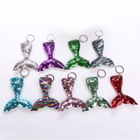 Wholesale mermaid jewelry free shipping resale online - Sequins Mermaid Keychain cm Styles DIY Mermaid Tail Pendant Colorful Keychain Jewelry Handbag Accessories