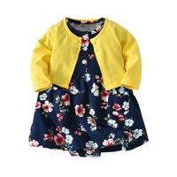 796aa84dcb73 2pcs Baby Girls Dress Set Floral pagliaccetto del bambino Vestiti +  Cappotto Giacca manica lunga Tuta 0-24M