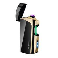 pipa de fumar usb al por mayor-Touch Sensing Double ARC Windproof USB Carga cíclica Encendedor Portátil Diseño innovador Dispositivo de encendido Cigarrillo Pipe Smoking Pipe Tool