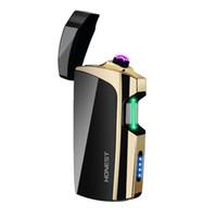 pistola pistola isqueiro cigarro venda por atacado-Toque Sensing Duplo ARC USB À Prova de Vento Cíclico de Carregamento Mais Leve Portátil Inovador Design Dispositivo de Ignição Cigarette Smoking Pipe Tool