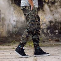 Wholesale Pants - New Arrival Mens Pants Fashion Camouflage Jogging Pants Womens Zipper Overalls Beam Foot Trousers Irregular Joggers Pants