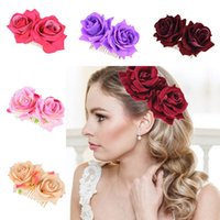 Wholesale designer bridal jewelry resale online - Ladies Elegant Festival Bridal Flower Hair Comb Wedding Accessories Red Rose Hairpin Bridesmaid Hair Jewelry Party Decoration DHL WX9