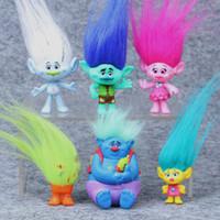 conjuntos de presente de filme venda por atacado-6 pçs / set Dreamworks Trolls Filme Figura Collectible Bonecas Papoula Ramo Biggie Pvc Trolls Figuras de Ação Longo Boneca de Cabelo Toy Presente